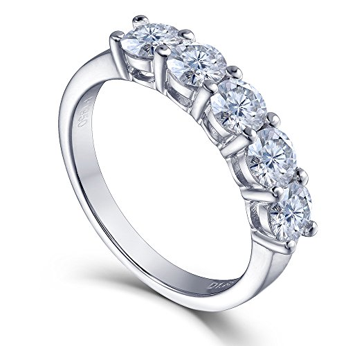 TransGems 1.25 CTW Lab Moissanite Diamond Half Eternity Engagement Band Platinum Plated Sterling Silver (7) by TransGems
