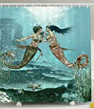 Little Mermaids Shower Curtain in Love Underwater Fairy Design Abstract Love Art Home Sister Gifts from Sister Bathroom Set Decorations Water Therapy Polyester Fabric, Teal Dark Green Brown