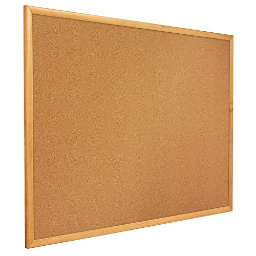 - Quartet Corkboard, Framed Bulletin Board, 4' x 3', Corkboard, Oak Finish Frame (304)