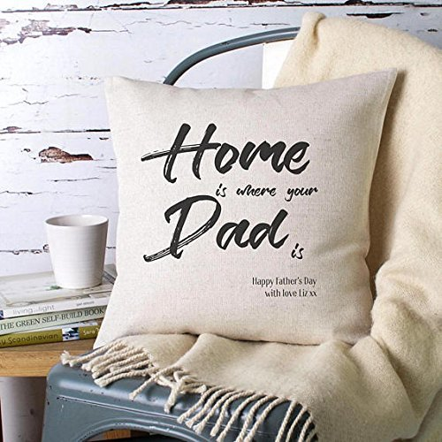 Home Is Where Your Dad Is Pillow Cover / Handmade Pillow Cushion Cover / Personalised Cushion Cover / Custom Made Cover / Fathers Day or Birthday Gift / Gift for Dad / 16x16 (Austin Twin Bunk Bed)