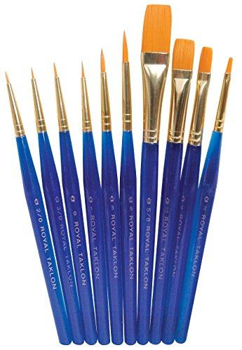 Royal Brush Light-Weight Golden Taklon Hair Acrylic Handle Ultra Short Brush Set, Assorted Size, Translucent Blue, Set of 10