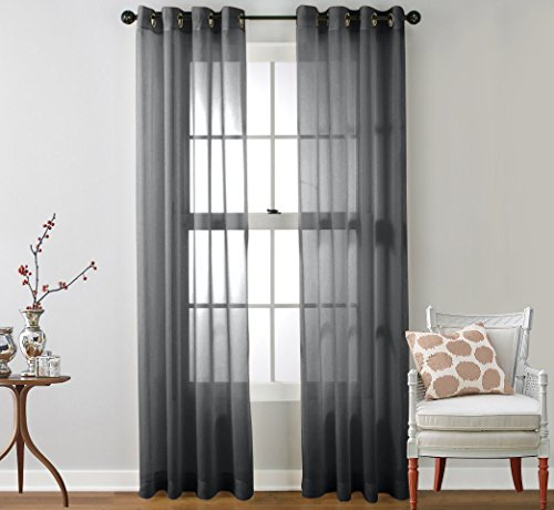 HLC.ME 2 Piece Sheer Window Curtain Grommet Panels - 95 Inch Curtain Panels Set