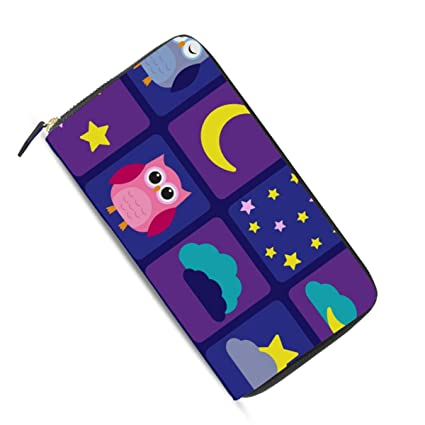 Ahomy Cartoon Owls Night Sky Moon Stars - Monedero de Piel ...