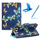 Wallet Leather Case for Samsung Galaxy Tab A 7.0 T280,Herzzer Stylish Pretty [Luxury Butterfly Pattern] PU Leather Purse Folio Full Body Stand Card Slot Cover with Soft TPU