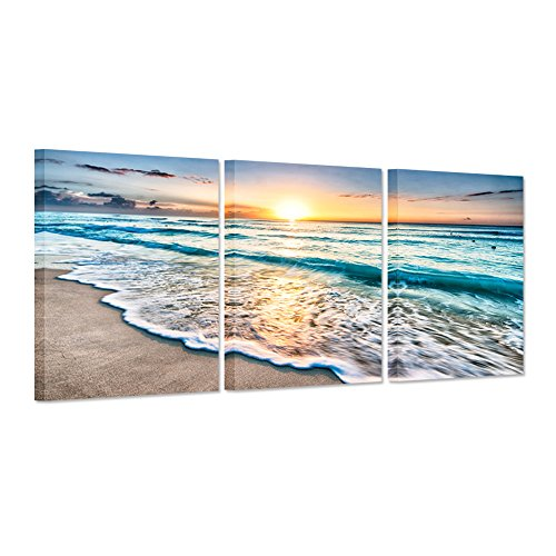 Hello Artwork 3 Pieces Canvas Art Prints Blue Sea Sunset White Beach Painting The Picture Print On Canvas Beach Seascape In Cancun Mexico Wall Art Framed for Living Room (3Panel) ()