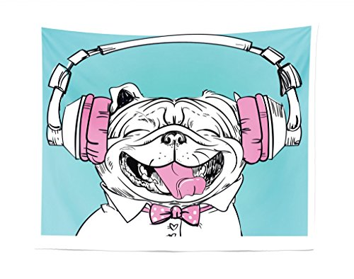 Lunarable Animal Tapestry, Cute Vintage Portrait of a Dog with Headphones Pop Art Hipster Sketch Image, Fabric Wall Hanging Decor for Bedroom Living Room Dorm, 28 W X 23 L Inches, Aqua Pink and White