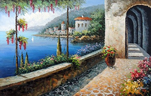 100% Hand Painted Tuscany Italian Mediterranean Homes Beach Town Shore Canvas Home Wall Art Oil Painting by Well Known Artist, Framed, Ready to Hang (Oil Painting Tuscany)