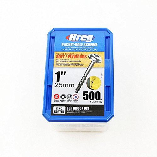 Kreg SML-C1-500 1-Inch #8 Coarse Washer-Head Pocket Hole Screws, 500-Pack Kreg Jig Screws