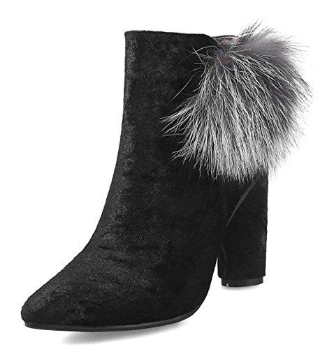 Mode Noir Fourrée Pointues Eclair Aisun Low Femme Boots Bottines Fermeture qO5Ofx