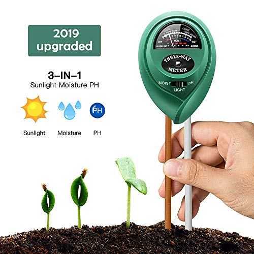 Soil Ph Meter, Soil Tester Kits with Moisture, Light and PH Test for Garden, Farm, Lawn, Indoor & Outdoor, No Battery Needed PH Meter for Soil, Easy to Use