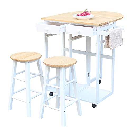 Dining Table and Chairs,Wooden Kitchen Island Trolley Cart Set Rolling Kitchen Utensils with 2 Drawers and Round Stools 1 Drop for Breakfast Bar Pub Semicircle White