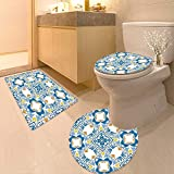 Printsonne 3 Piece Toilet mat Set Decor Tunisian Mosaic Azulojo Spanish Influence Authentic Retro Islamic Blue 3 Piece Shower Mat Set