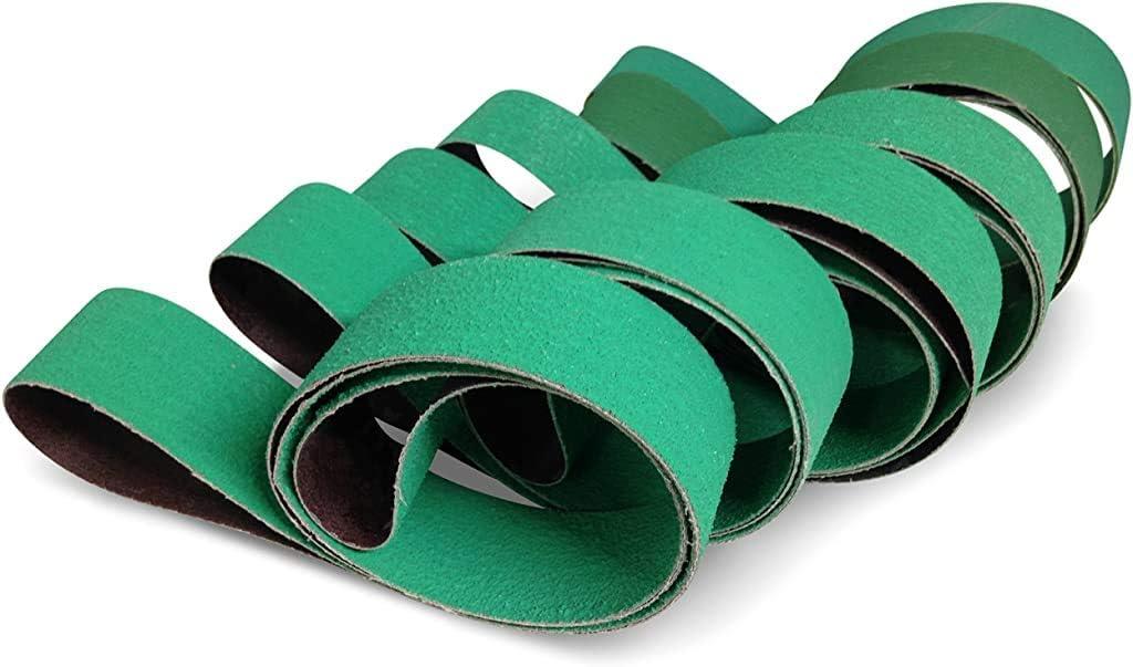 Red Label Abrasives 2 X 42 Inch Knife Sharpening Sanding Belts - Premium Ceramic - Coarse Grits - 6 Pack Assortment - -