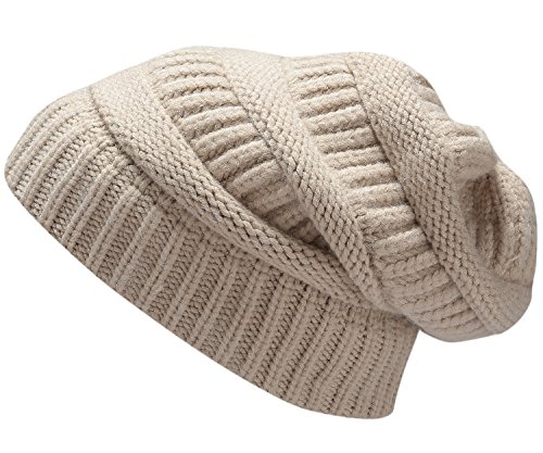 Womens Men Knit Winter Stretch Thick Slouch Beanie Hats Chunky Skull Caps Solid Khaki
