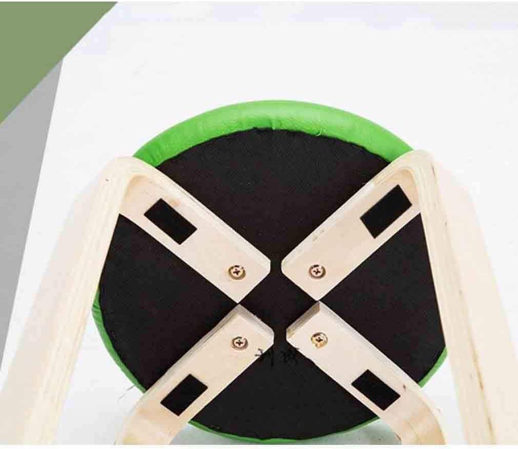 N / A Taburete de Madera apilable Calidad de Las heces, sillas de Cuero Acolchado casa de Comedor Redonda Cocina Exterior, Blanco, Amarillo,Caqui Café