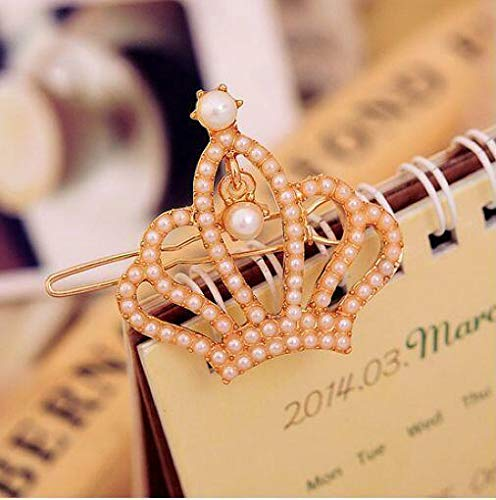 Fashion 1pcs Crown Stars Bowknot Pearl Inlaid Molding Hair Clips Bobby Pin NEW (Type - crown)