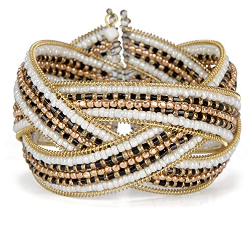 (SPUNKYsoul Braided Gold, Black and White Seed Bead Red and Gold Bangle Cuff Bracelet for Women (Braid White Gold Black))
