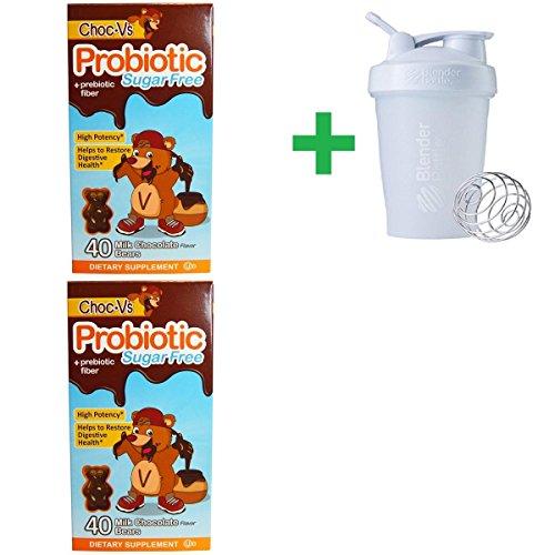 Yum-V's, Probiotic + Prebiotic Fiber, Sugar-Free Milk Chocolate, 40 Bears(2 Packs)+ Assorted Sundesa, BlenderBottle, Classic With Loop, 20 (Sugar Free Assorted Chocolate)