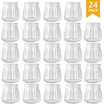 Betrome 4 OZ Glass Jar Yogurt Jars Pudding Jar with Lid Glass Containers with PE Cap for Yogurt, Milk, Jam,Mousse and More