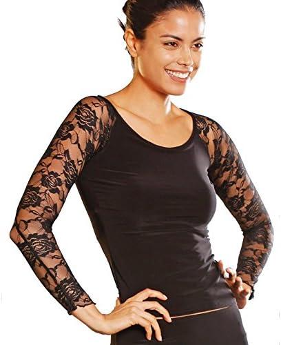 Wi&Lit Señoras negro encaje tul baile moderno, camisa Latin dance , m: Amazon.es: Deportes y aire libre