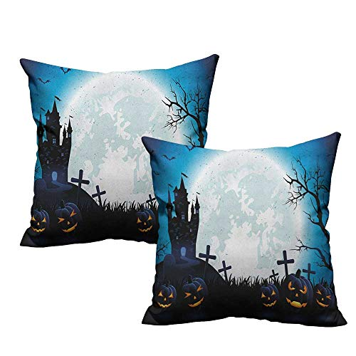 RuppertTextile Creative Pillowcase Halloween Spooky Concept with Scary Icons Old Celtic Harvest Figures in Dark Image Holiday Print Without core W20 xL20 2 pcs]()