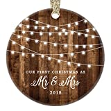 "First Christmas as Mr & Mrs Ornament 2018, Rustic 1st Married Christmas Ornament, First Married, 3"" Flat Circle Porcelain Ceramic Ornament w Glossy Glaze, Gold Ribbon & Free Gift Box 