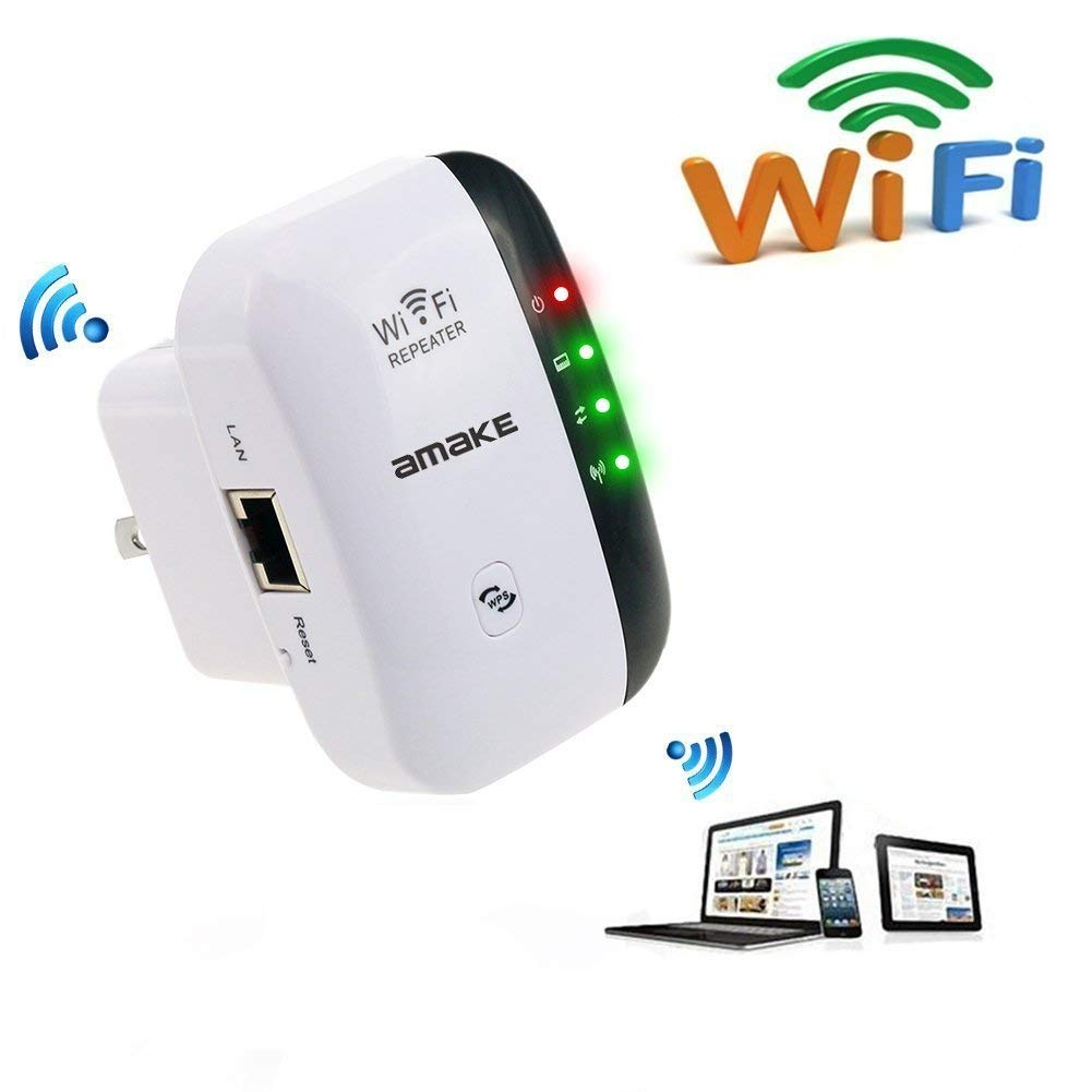 WiFi Range Extender,with WPS Internet Signal Booster | WiFi Extender 300 Mbps, Repeater,Access Point | Easy Set-Up | 2.4G Network with Integrated Antennas LAN Port & Compact Designed Internet Booste
