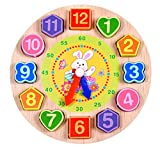 Wooden Clock, FALAIDUO Cartoon Educational Toys For Kids Wooden Beaded Clock (# B)