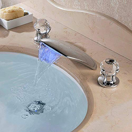 FGBFDG with Two Handles,Victoria Waterfall LED 3 Hole 2 Handles Stainless Steel Bathroom Basin Tap Bathtub -