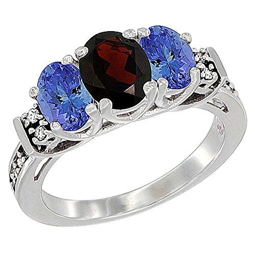 14K White Gold Natural Garnet & Tanzanite Ring 3-Stone Oval Diamond Accent, size - Stone Oval 3 Garnet Ring