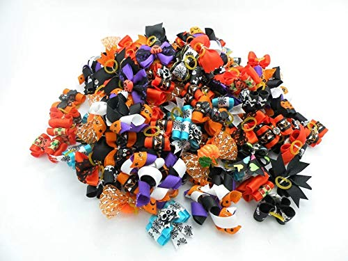 60 pcs Dog Hair Bows Halloween Pet Cat Dog Hair Bows Grooming Dog Accessories