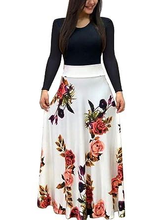 92e7f10f64b Abolai Women Boho Maxi Dress Casual Irregular Solid Pocket Party Loose Long  Sleeve Cotton Viscose Dress Kaftan