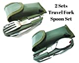 Freshline 2 Travel Cutlery Sets With Case Camping Gear Utensil Fork & Spoon Set Stainless Steel 7 in 1 Foldable Portable Compact Reusable Multi Tools Silverware Set For Outdoor & Backpacking