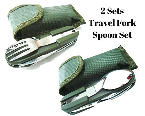 Freshline 2 Travel Cutlery Sets With Case Camping Gear Utensil Fork & Spoon Set Stainless Steel 7 in 1 Foldable Portable Compact Reusable Multi Tools Silverware Set For Outdoor & Backpacking by Freshline