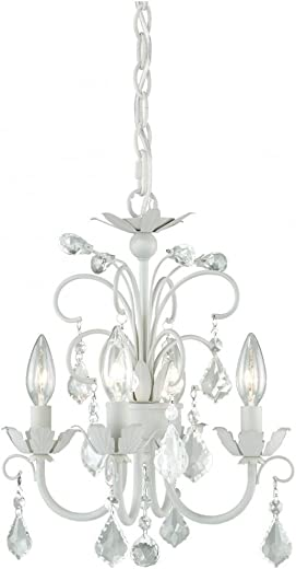Vaxcel H0034 Ellie 4-Light Mini Chandelier, Satin White, 12.75 x 12.75 x 15.75