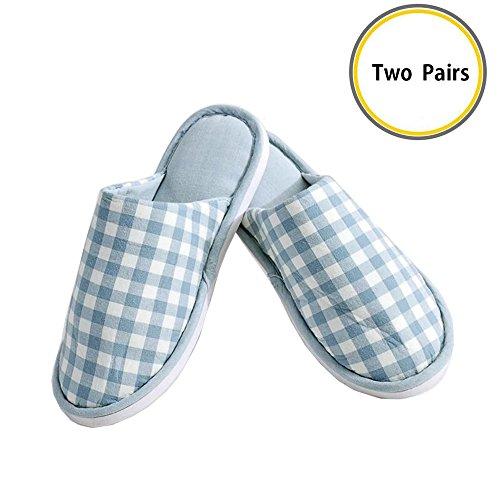 Bout Deux Bleu Plat Antidérapatante Avec D'intérieur Semelle Lavable Lanker Et Paires En Ultra De Rose Coton Pantoufles Léger Fermé Chaussures qqwXZSU
