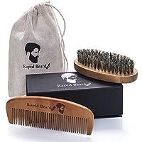 Beard Brush and Beard Comb kit for Men Grooming, Styling & Shaping - Handmade Wooden Comb and Natural Boar Bristle Beard Brush Set for Men Beard & Moustache by Rapid Beard