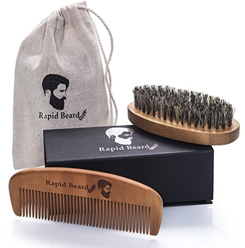 Beard Brush and Beard Comb kit for Men Grooming, Styling & Shaping - Handmade Wooden Comb and Natural Boar Bristle Beard Brush Gift set for Men Beard & Mustache by Rapid Beard