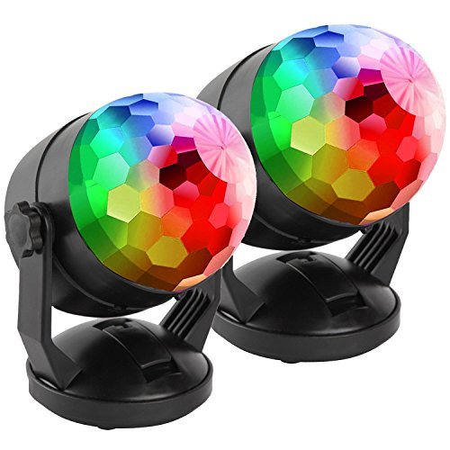[2-Pack] Portable Sound Activated Party Lights for Outdoor and Indoor, Battery Powered/USB Plug in, Dj Lighting, RBG Disco Ball, Strobe Lamp Stage Par Light for Car Room Dance Parties]()