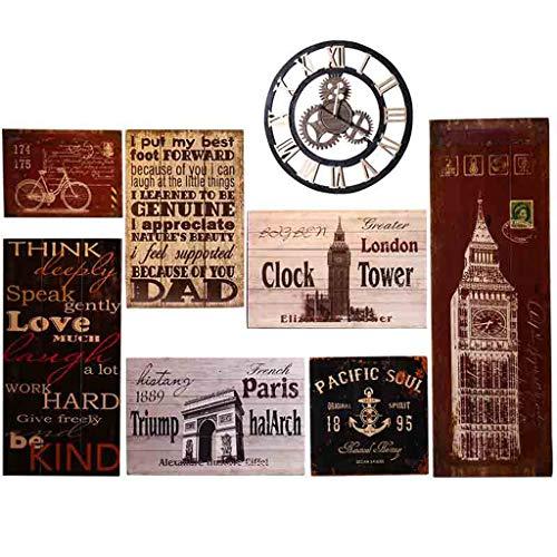 Tablero de madera vintage pintura Bar tienda de ropa decoración de la pared Viento industrial tienda de barbacoa colgante de...