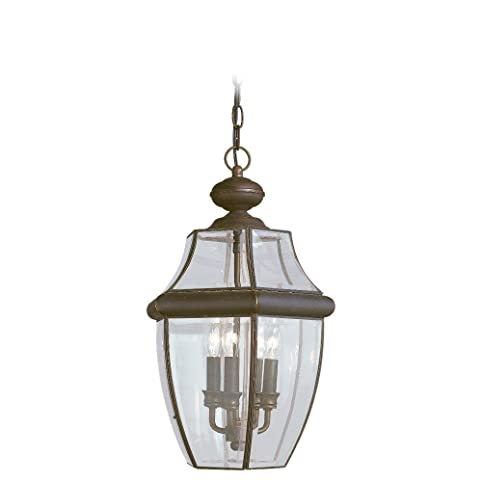Sea Gull Lighting 6039 71 Three Light Lancaster Outdoor Pendant Clear Curved Beveled
