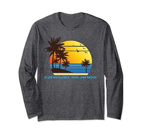 Best Unisex Cayman Islands Beach Long Sleeve T-Shirt Sunset Tee Shirt 2XL Dark