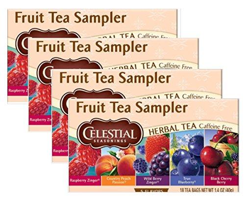 Celestial Seasonings Herbal Tea, Fruit Tea Sampler, 18 Count (Pack of 4)