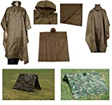 Ultimate Arms Gear Waterproof Rip Stop Coyote Tan Military G.I. Style Poncho Tent Shelter