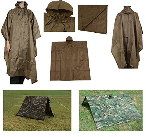Waterproof Rip Stop Coyote Tan Military G.I. Style Poncho Tent Shelter (Poncho Nylon Ripstop)