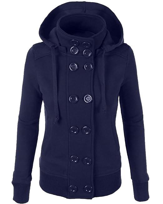 ZhuiKun Mujer Abrigo Chaqueta de Paño Doble Botones Clásico Jacket Sudadera con Capucha: Amazon.es: Ropa y accesorios