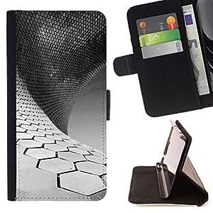 For HTC One Mini 2 M8 MINI Case , Ciencia Blanco Negro minimalista- la tarjeta de Crédito Slots PU Funda de cuero Monedero caso cubierta de piel