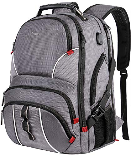 Extra Large Backpack,Large Resistant Travel Laptop Backpack for Men Women,TSA Friendly Outdoor Backpack with USB Charging Port,Big School Bag Fits 17 Inch Laptop,Gray