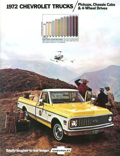 BEAUTIFUL 1972 CHEVY PICKUP & TRUCKS DEALERSHIP SALES BROCHURE - Fleetside, Setpside, Chassis-Cab, Stake, Cheyenne, Custom Deluxe, Super CS/CE-10, CS/CE-20, CS/CE 30, KS/KE-10, KS/KE-20, 2WD & 4WD - ADVERTISMENT - (Chevy Brochure)