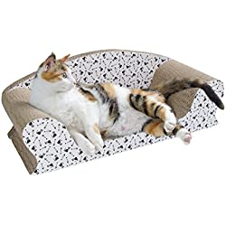 Vivaglory Cat Scratcher Lounge, Kitty Cardboard Scratch Couch, Kitten Scratching Sofa Bed Pad for Rest and Furniture Protect with Catnip, Fish Cat Print